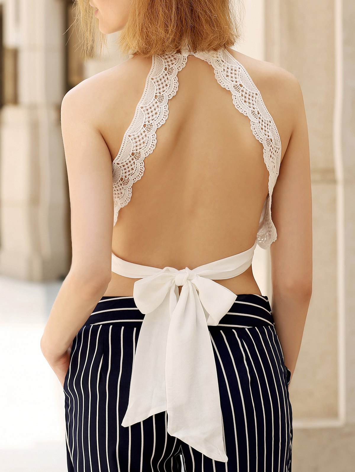 Alluring Women's Plunging Sleeveless Lace Crop Top - WHITE S