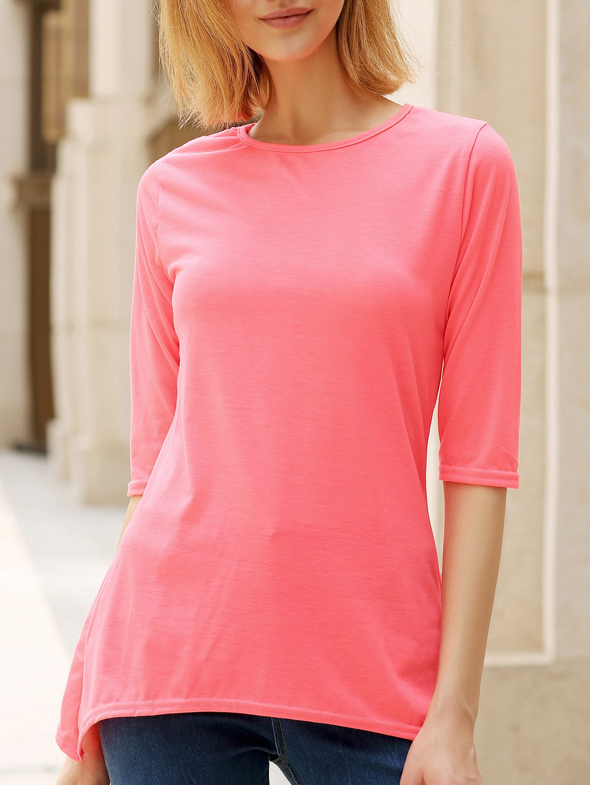 Stylish Women's Round Neck 3/4 Sleeve High Low T-Shirt - LIGHT PINK XL