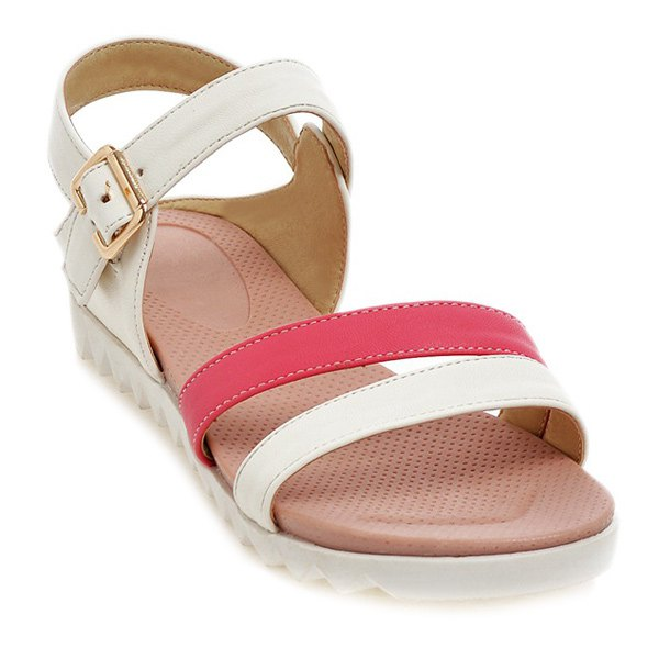 Simple PU Leather and Colour Block Design Women's Sandals