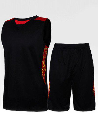 Men's Round Collar Printed Gym Tank Top + Shorts - BLACK XL