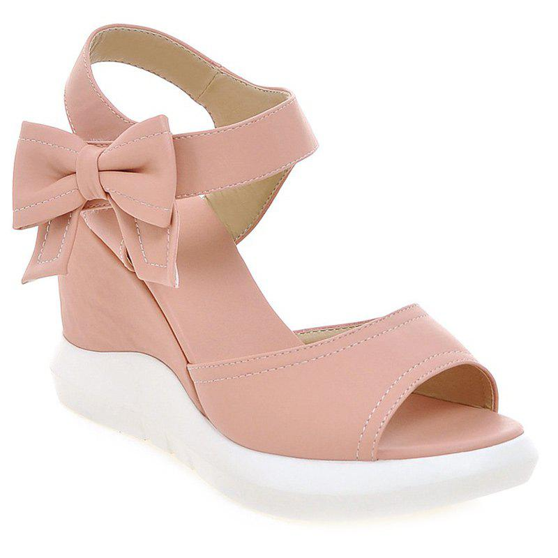 Stylish Bowknot and Wedge Heel Design Women's Sandals - PINK 37