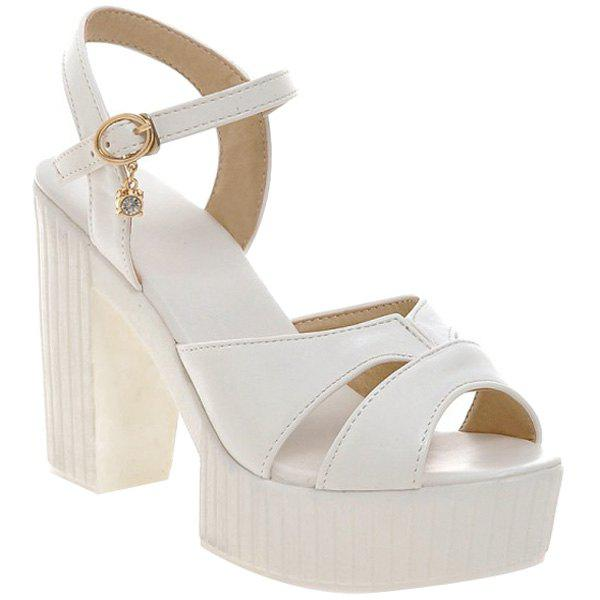 Elegant Solid Color and Chunky Heel Design Women's Sandals - WHITE 34