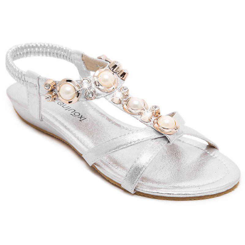 Casual Faux Pearls and Elastic Band Design Women's Sandals - SILVER 40