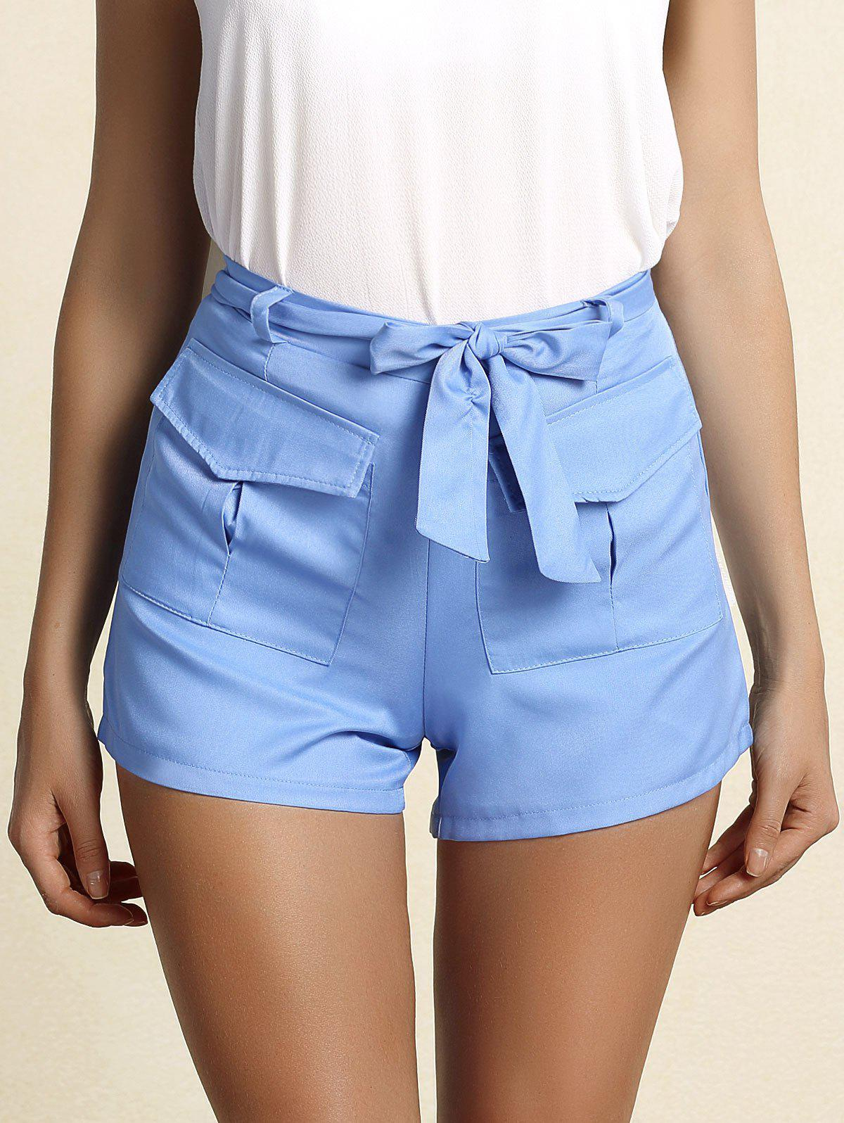 Trendy Women's Belted Blue Straight Leg Shorts - BLUE S