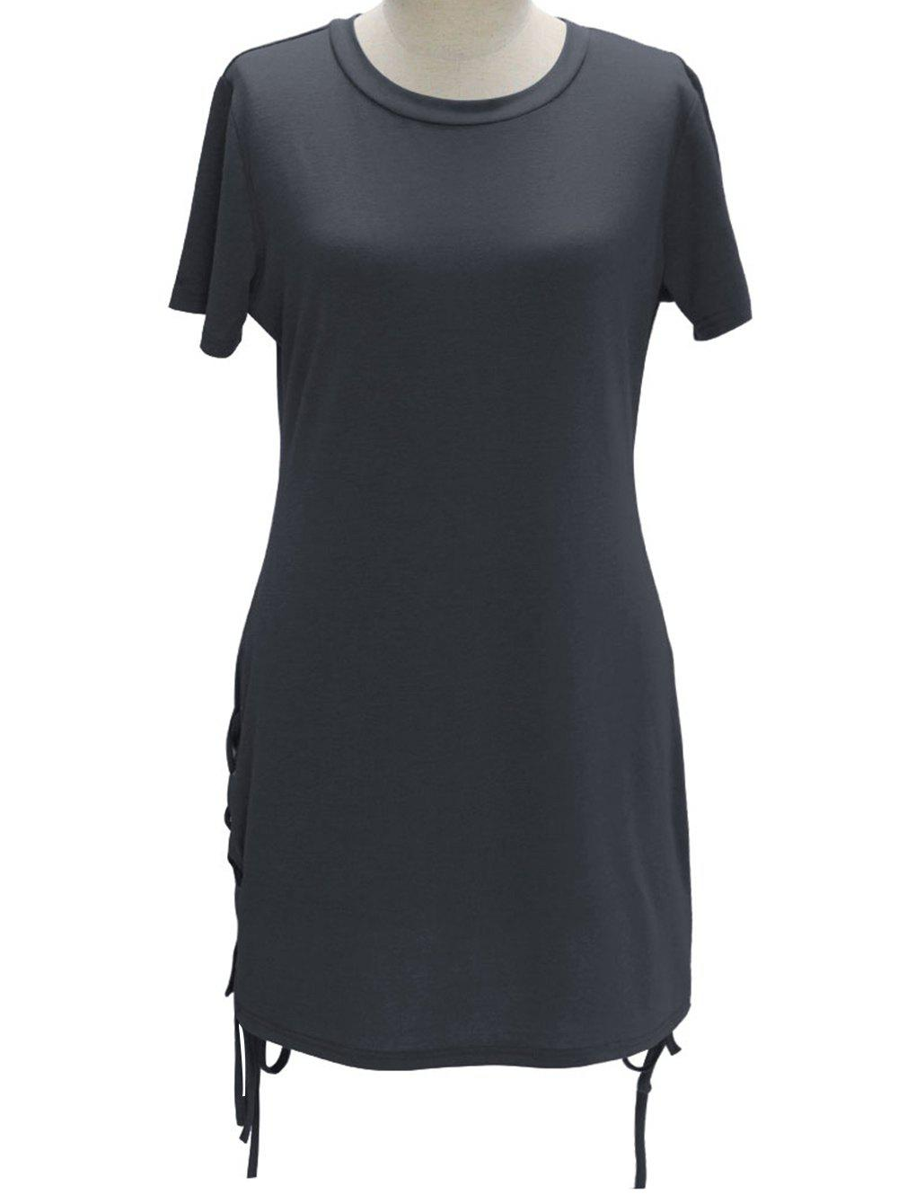 Stylish Round Neck Short Sleeves Strappy Pure Color Women's Dress