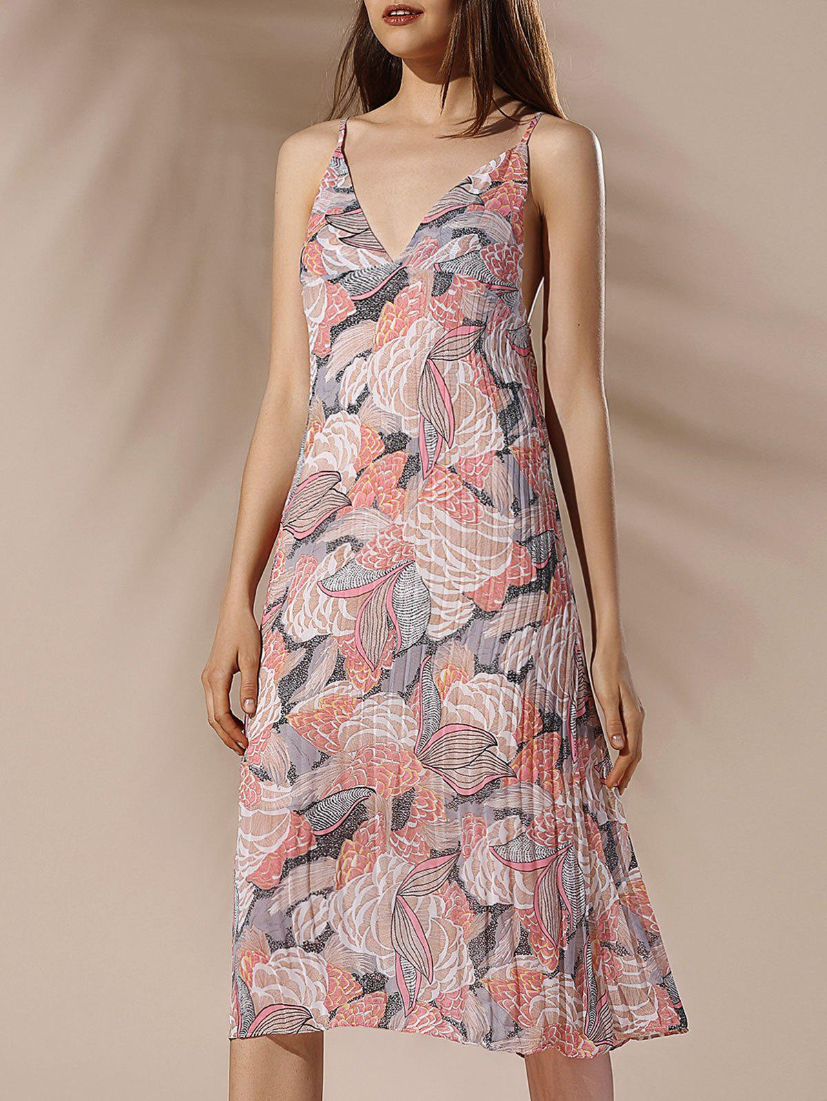 Floral Pleated Summer Dress - COLORMIX L