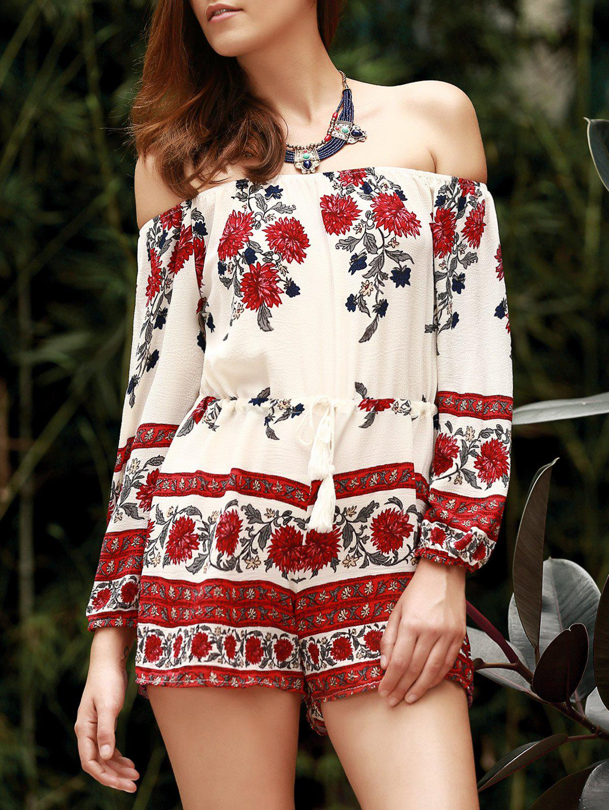 Bohemian Style Off The Shoulder Floral Printed Women's Romper - WHITE M