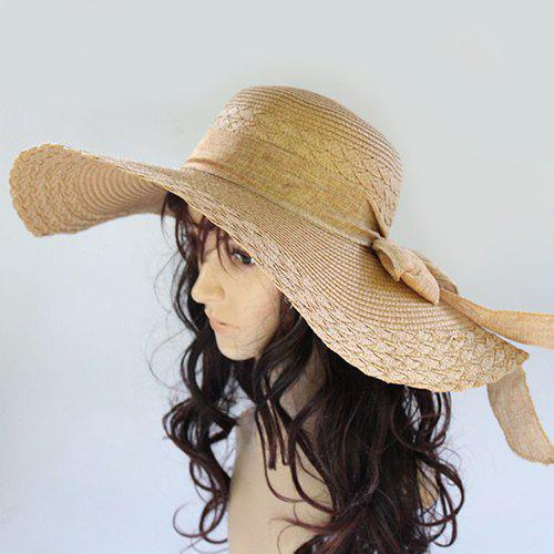 Chic Lace-Up Wide Brim Sun-Resistant Women's Straw Hat