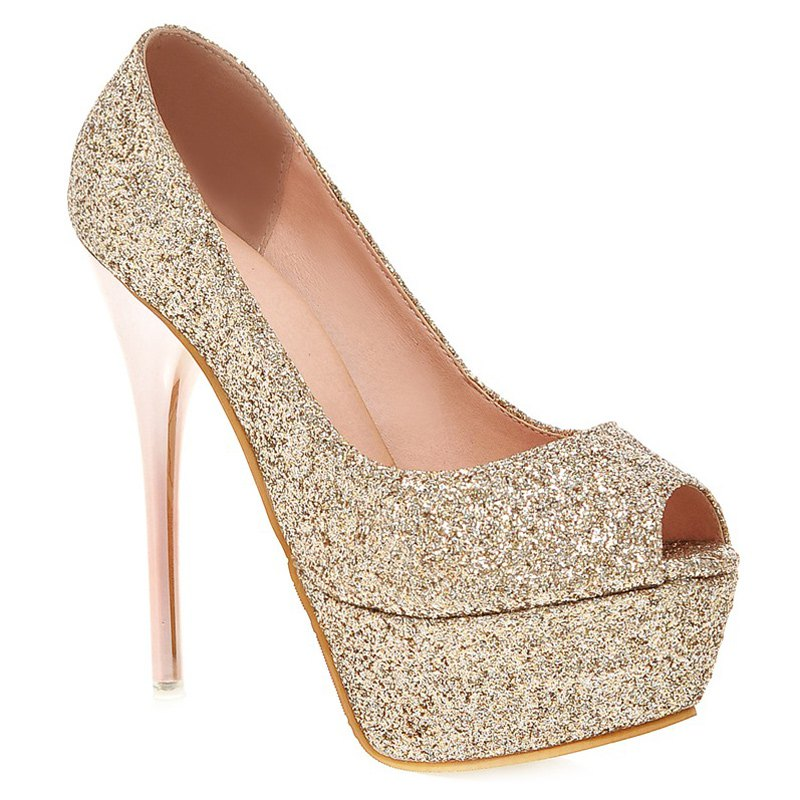 Trendy Stiletto Heel and Sequined Cloth Design Women's Peep Toe Shoes - GOLDEN 39