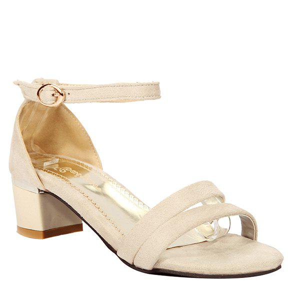 Elegant Chunky Heel and Ankle Strap Design Women's Sandals - OFF WHITE 36