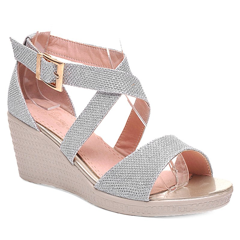 Fashionable Solid Colour and Cross Straps Design Women's Sandals - SILVER 39