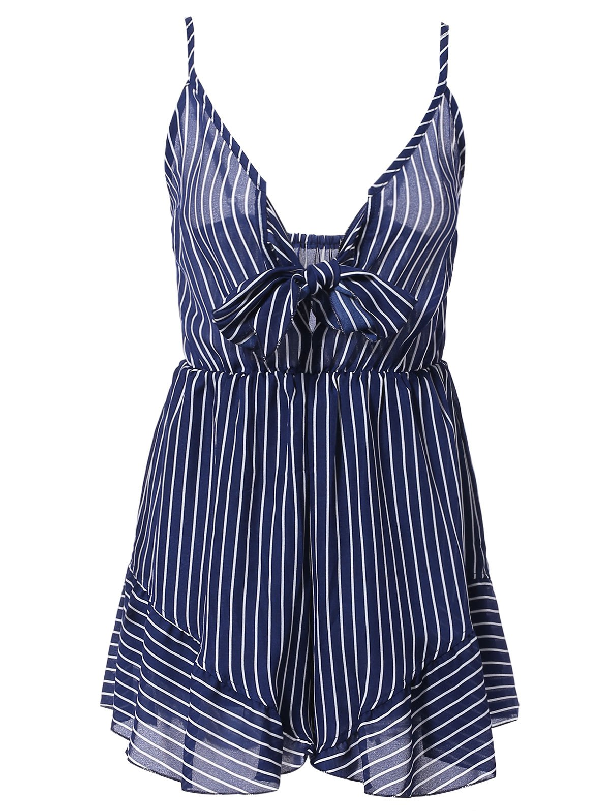 Chic Women's Plunging Neck Striped Design Flounce Romper