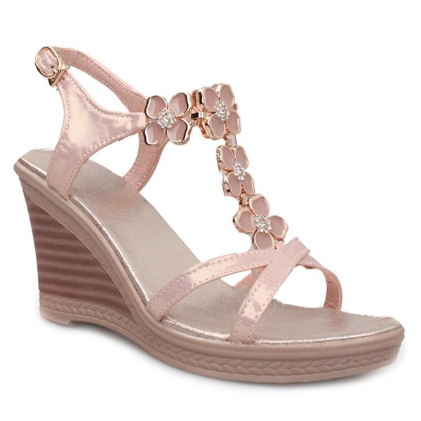 Stylish T-Strap and Rhinestones Design Women's Sandals - PINK 39