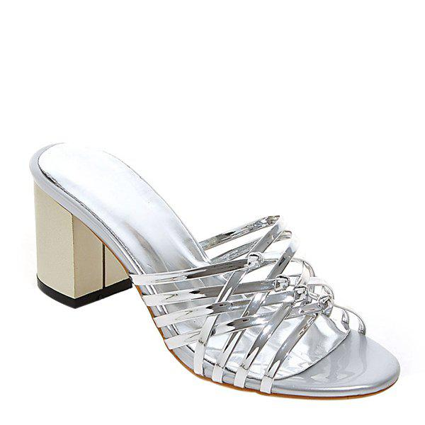 Stylish Chunky Heel and Solid Color Design Women's Slippers - SILVER 40