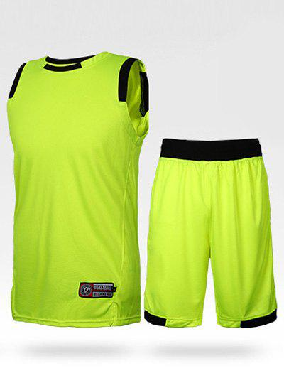 Men's Round Neck Embroidery Stripe Training Tank Top + Shorts - NEON BRIGHT GREEN L