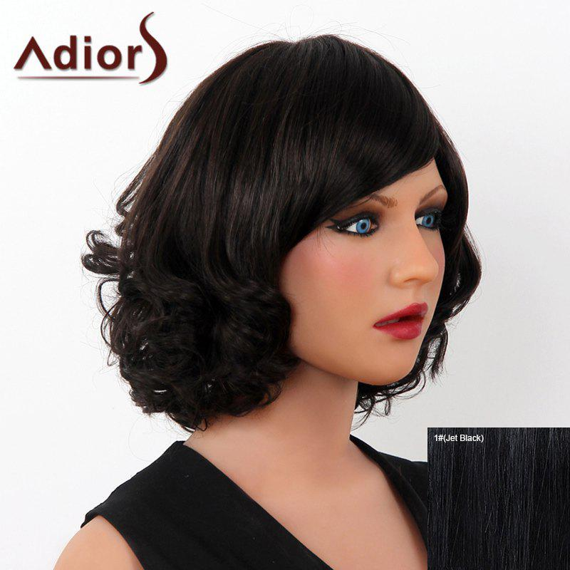 Stunning Short Human Hair Fluffy Side Bang Wave Capless Adiors Wig For Women elegant short side bang real human hair bob style straight capless adiors wig for women