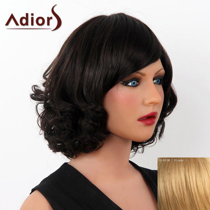 Superbe court humain Fluffy Hair Side Bang vague capless Adiors perruque pour les femmes - / Blonde