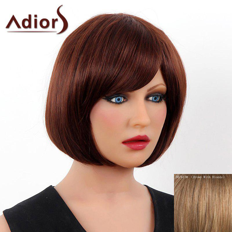 Elegant Short Side Bang Real Human Hair Bob Style Straight Capless Adiors Wig For Women - BROWN/BLONDE