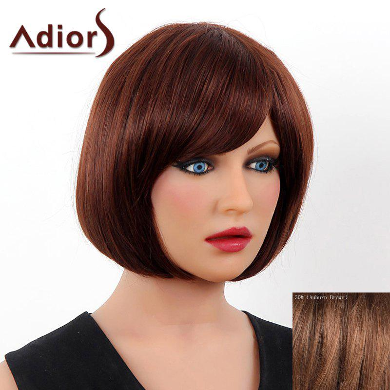 Elegant Short Side Bang Real Human Hair Bob Style Straight Capless Adiors Wig For Women elegant short side bang real human hair bob style straight capless adiors wig for women