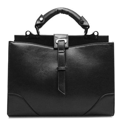 Fashionable PU Leather and Metal Design Women's Tote Bag - BLACK