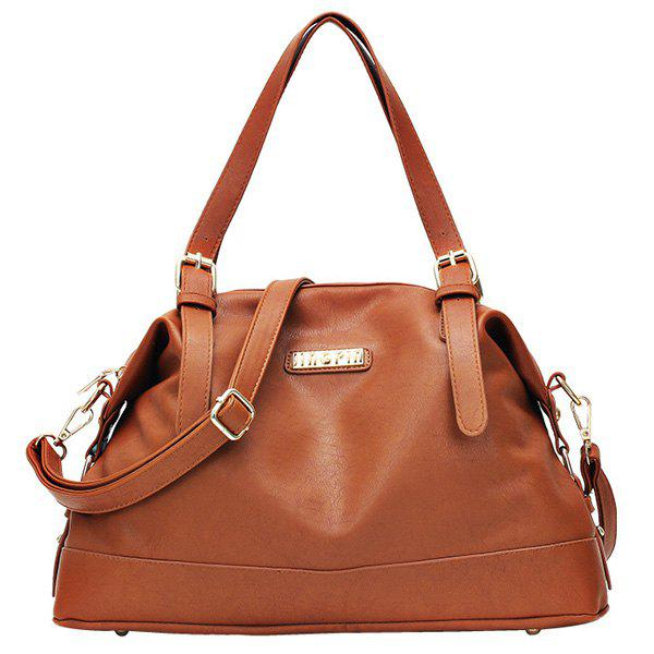 Buy Fashion Solid Color Stitching Design Women's Tote Bag BROWN