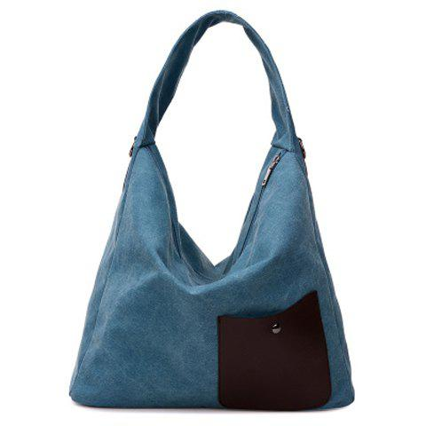 Casual Splicing and Canvas Design Women's Shoulder Bag - LAKE BLUE