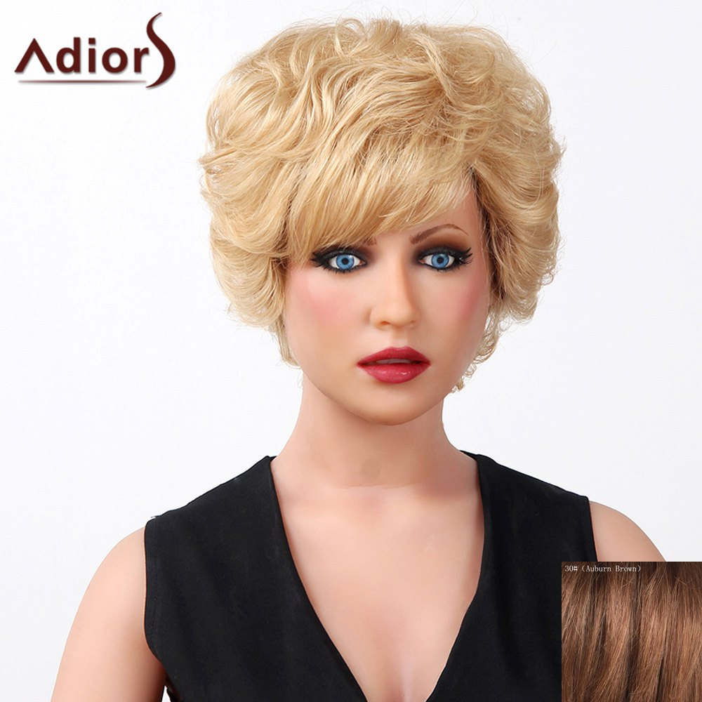 Stylish Oblique Bang Fluffy Natural Curly Short Capless Human Hair Wig For Women - AUBURN BROWN