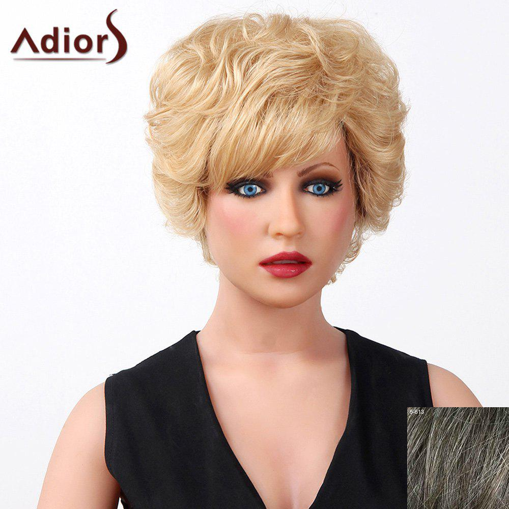Stylish Oblique Bang Fluffy Natural Curly Short Capless Human Hair Wig For Women - DARKEST BROWN/GRAY
