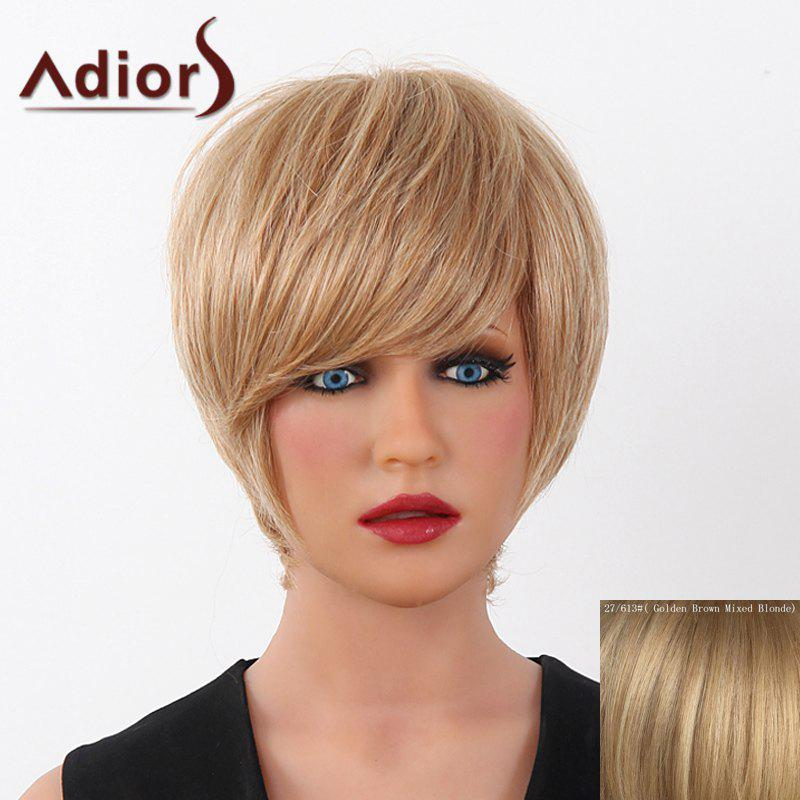 Human Hair Elegant Short Straight Capless Side Bang Adiors Wig For Women elegant short side bang real human hair bob style straight capless adiors wig for women