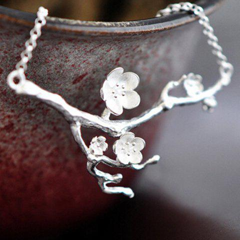 Plum Blossom Pendant Necklace - SILVER