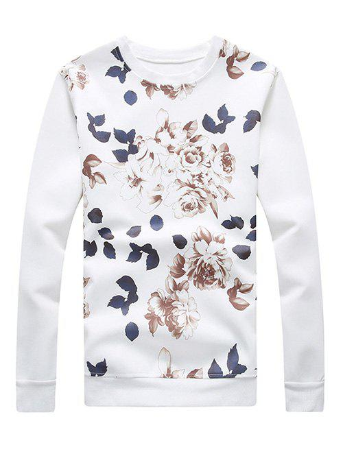 Plus Size Flower Pattern Round Neck Long Sleeve Men's Sweatshirt - WHITE XL