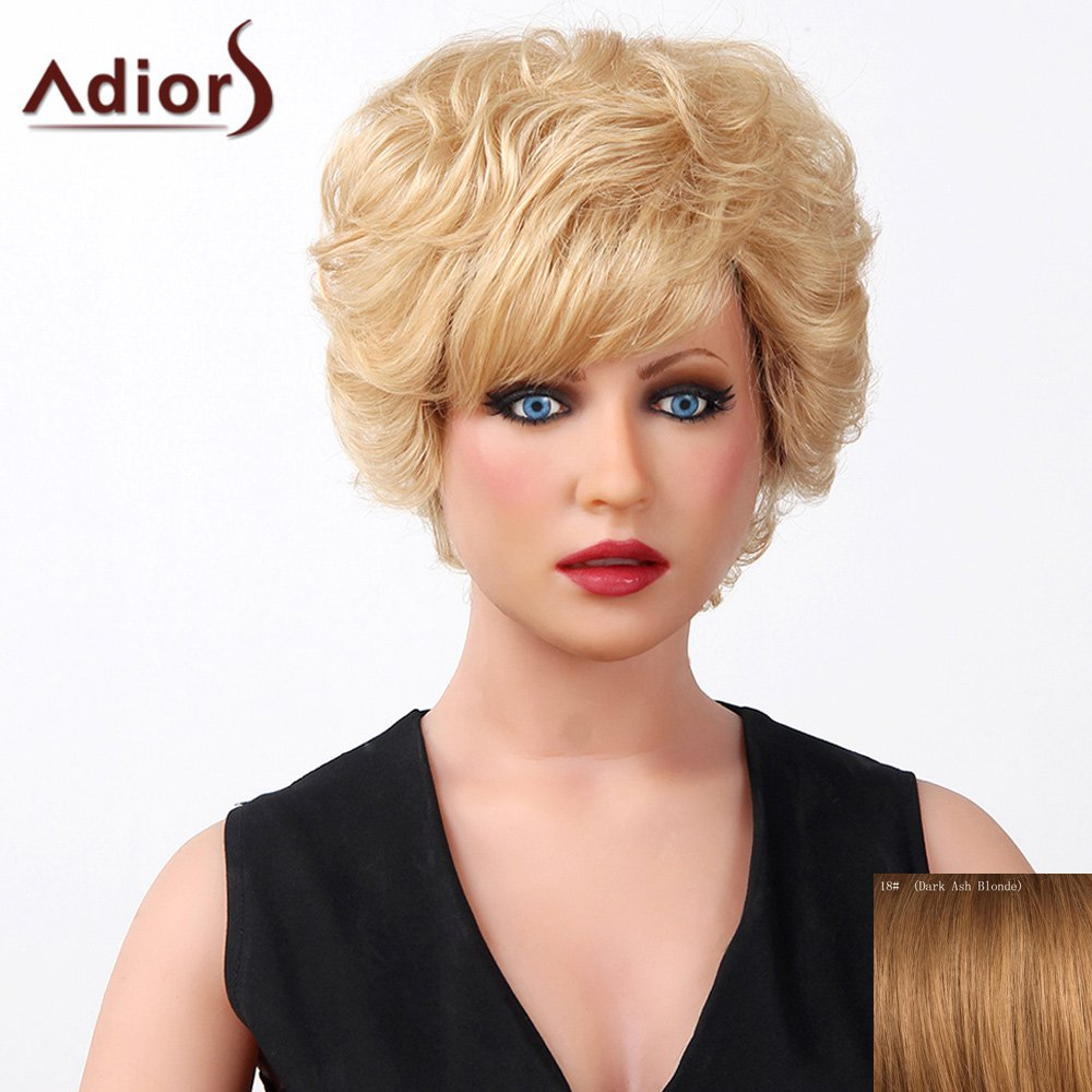 Stylish Oblique Bang Fluffy Natural Curly Short Capless Human Hair Wig For Women - DARK ASH BLONDE