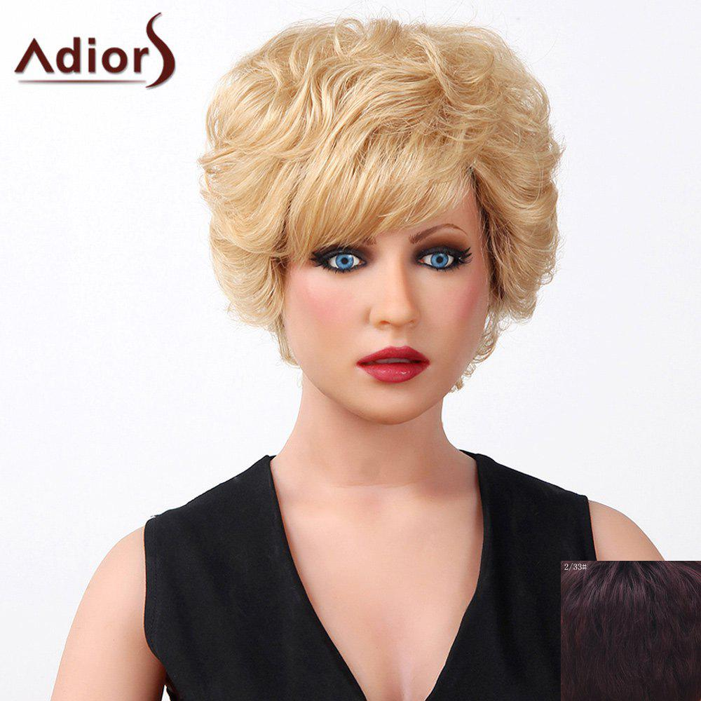 Stylish Oblique Bang Fluffy Natural Curly Short Capless Human Hair Wig For Women - RED MIXED BLACK