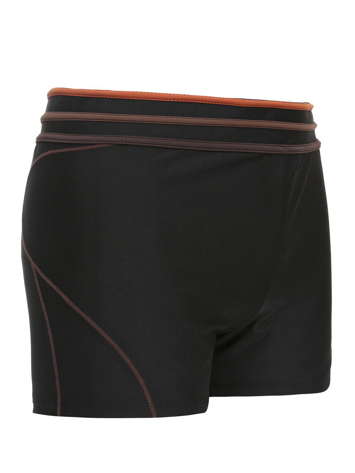 Men's Mid-Rised Swimming Trunks - BLACK 3XL
