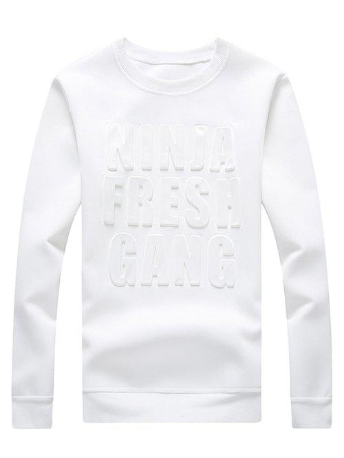 Plus Size Letter Pattern Emboss Round Neck Long Sleeve Men's Sweatshirt - WHITE M