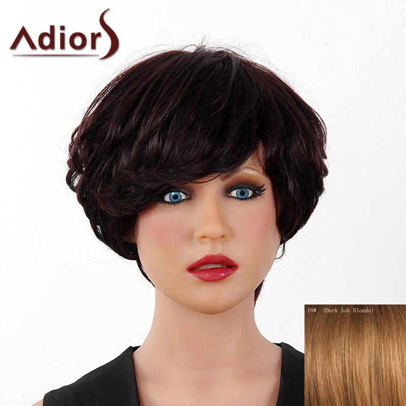 Fluffy Curly Short Layered Real Human Hair Stylish Side Bang Adiors Capless Wig For Women elegant short side bang real human hair bob style straight capless adiors wig for women