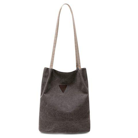 Simple Inverted Triangle Pattern and Canvas Design Women's Shoulder Bag -  GRAY