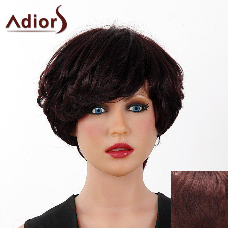 Fluffy Curly Short Layered Real Human Hair Stylish Side Bang Adiors Capless Wig For Women - DARK AUBURN BROWN