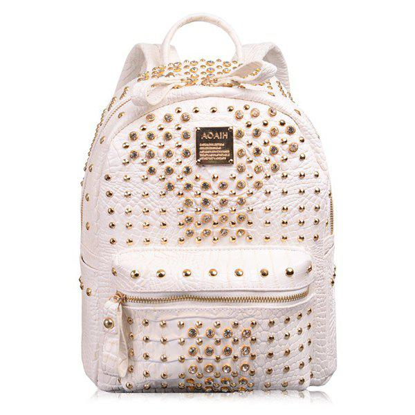 Trendy Rhinestone and Rivet Design Women's Satchel - WHITE