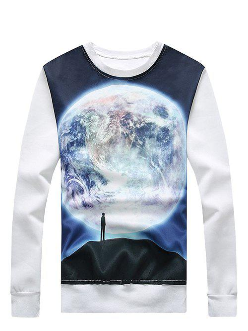Plus Size 3D Moon and Figure Print Round Neck Long Sleeve Men's Sweatshirt - WHITE XL