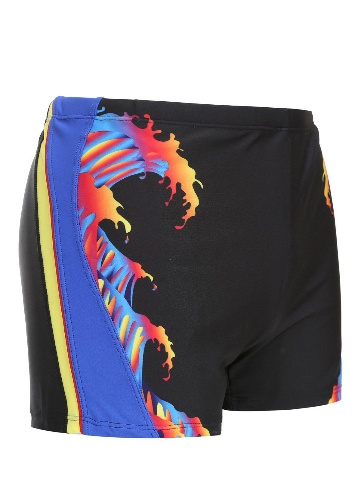 Men's Color Block Mid-Rised Swimming Trunks