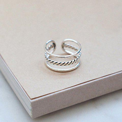 Hollow Out Layered Ring - SILVER ONE-SIZE