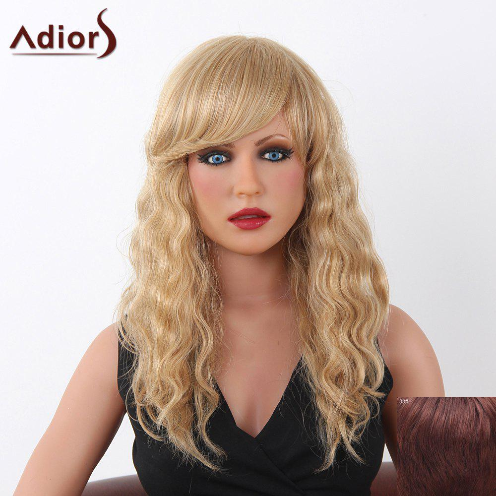Charming Long Adiors Capless Shaggy Curly Women's Human Hair Wig - DARK AUBURN BROWN