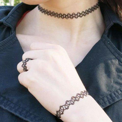 A Suit of Chic Hollow Out Necklace Bracelet and Ring For Women