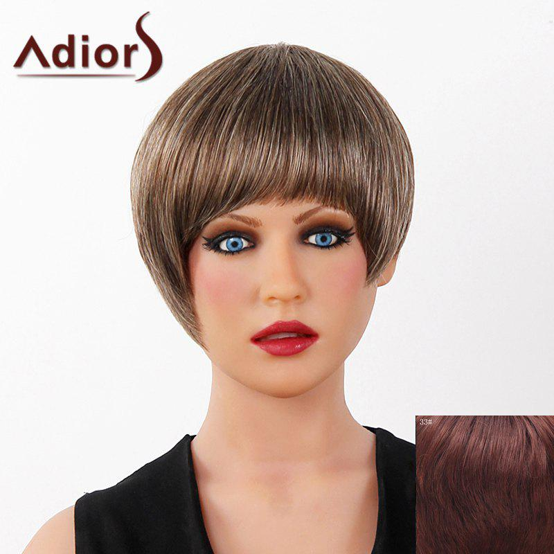 Graceful Short Full Bang Capless Human Hair Straight Women's Adiors Wig - DARK AUBURN BROWN