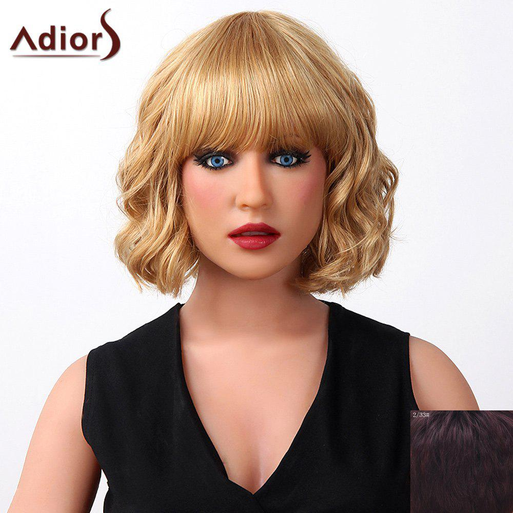Vogue Natural Curly Short Full Bang Capless Human Hair Wig For Women -  RED MIXED BLACK