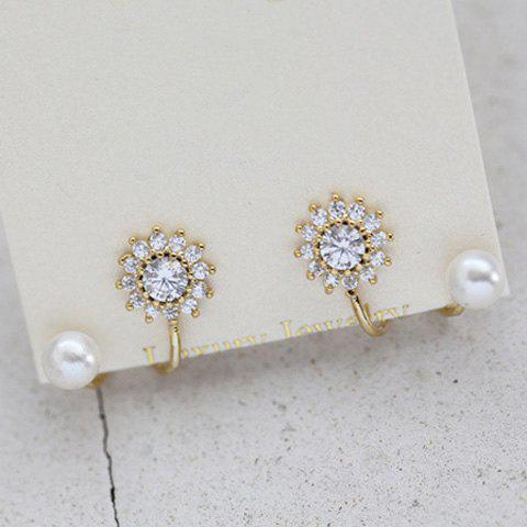 Pair of Floral Rhinestone S Shape Earrings - CHAMPAGNE GOLD