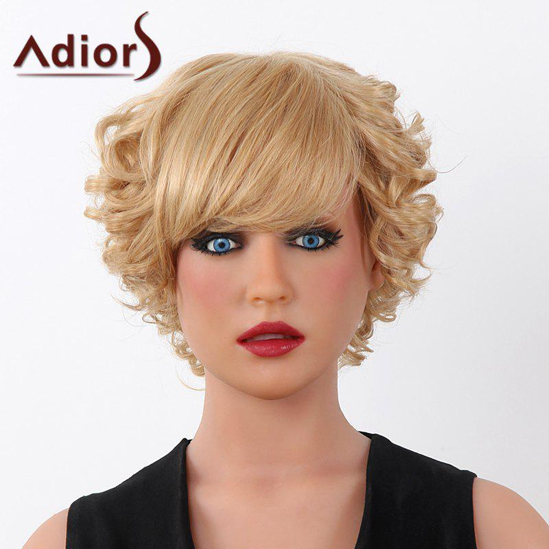 Fluffy Curly 100 Pourcentage Human Trendy Hair Adiors court capless perruque pour les femmes - / Blonde