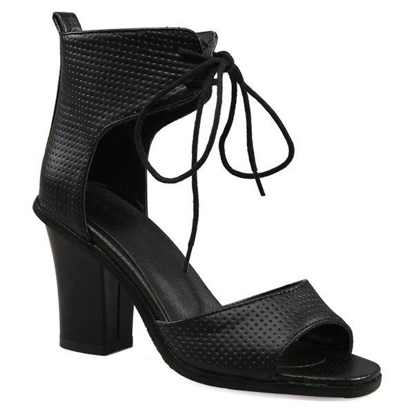 Stylish Lace-Up and Peep Toe Design Womens SandalsShoes<br><br><br>Size: 37<br>Color: BLACK