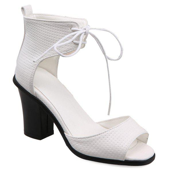 Stylish Lace-Up and Peep Toe Design Women's Sandals - WHITE 37